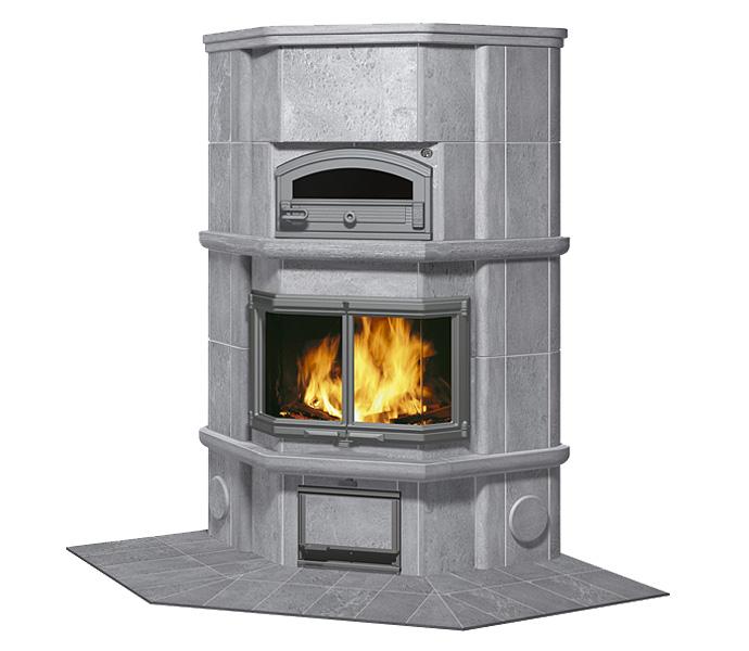 Камин-печь с духовкой и плитой